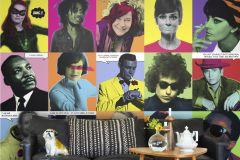 P160801-6 cikkszámú tapéta.Feliratos-számos,fotórealisztikus,emberek-sztárok,fehér,fekete,kék,bézs-drapp,sárga,zöld,gyengén mosható,vlies poszter, fotótapéta