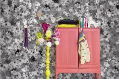P161401-7 cikkszámú tapéta.Virágmintás,fotórealisztikus,fehér,fekete,gyengén mosható,vlies poszter, fotótapéta