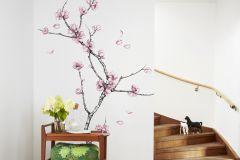 P161701-4 cikkszámú tapéta.Természeti mintás,fa hatású-fa mintás,rajzolt,virágmintás,pink-rózsaszín,fehér,fekete,gyengén mosható,vlies poszter, fotótapéta