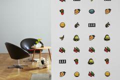 P162201-3 cikkszámú tapéta.Rajzolt,fekete,piros-bordó,narancs-terrakotta,sárga,zöld,gyengén mosható,vlies poszter, fotótapéta