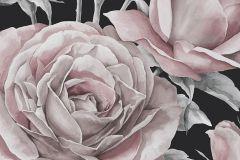 P230401-6 cikkszámú tapéta.Különleges motívumos,rajzolt,retro,természeti mintás,virágmintás,bézs-drapp,ezüst,fekete,pink-rózsaszín,szürke,gyengén mosható,vlies poszter, fotótapéta