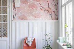 P230901-0 cikkszámú tapéta.Fa hatású-fa mintás,különleges motívumos,rajzolt,retro,természeti mintás,virágmintás,barna,fehér,pink-rózsaszín,gyengén mosható,vlies poszter, fotótapéta