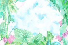 P231501-8 cikkszámú tapéta.Gyerek,különleges motívumos,rajzolt,retro,természeti mintás,virágmintás,fehér,kék,pink-rózsaszín,zöld,gyengén mosható,vlies poszter, fotótapéta