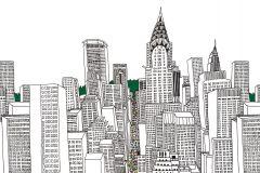 P200301-0 cikkszámú tapéta.Absztrakt,rajzolt,retro,fehér,fekete,zöld,gyengén mosható,vlies poszter, fotótapéta