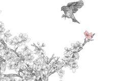 P201001-6 cikkszámú tapéta.állatok,fa hatású-fa mintás,különleges motívumos,rajzolt,retro,természeti mintás,virágmintás,fehér,fekete,sárga,gyengén mosható,vlies poszter, fotótapéta