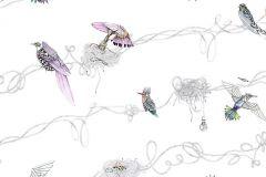 P201101-0 cikkszámú tapéta.állatok,rajzolt,retro,természeti mintás,fehér,fekete,kék,lila,narancs-terrakotta,sárga,szürke,türkiz,gyengén mosható,vlies poszter, fotótapéta