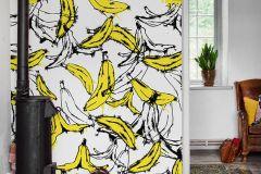 P201201-6 cikkszámú tapéta.Különleges motívumos,rajzolt,retro,természeti mintás,fehér,fekete,sárga,gyengén mosható,vlies poszter, fotótapéta