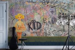 P201801-8 cikkszámú tapéta.Absztrakt,gyerek,különleges motívumos,rajzolt,retro,fehér,fekete,kék,lila,sárga,szürke,zöld,gyengén mosható,vlies poszter, fotótapéta