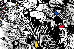 P201901-6 cikkszámú tapéta.Absztrakt,különleges motívumos,rajzolt,retro,fehér,fekete,kék,piros-bordó,sárga,gyengén mosható,vlies poszter, fotótapéta
