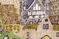 P202001-8 cikkszámú tapéta.Gyerek,rajzolt,retro,tájkép,bézs-drapp,fehér,fekete,kék,piros-bordó,sárga,zöld,gyengén mosható,vlies poszter, fotótapéta