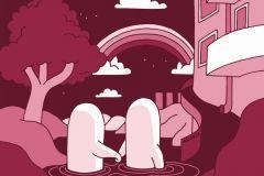 P202201-6 cikkszámú tapéta.Absztrakt,rajzolt,retro,fehér,pink-rózsaszín,piros-bordó,gyengén mosható,vlies poszter, fotótapéta