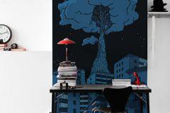 P202301-3 cikkszámú tapéta.Különleges motívumos,rajzolt,retro,fekete,kék,gyengén mosható,vlies poszter, fotótapéta