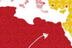 P120201-6 cikkszámú tapéta.Rajzolt,barna,fehér,pink-rózsaszín,piros-bordó,sárga,lemosható,vlies poszter, fotótapéta