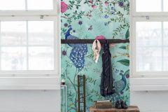 P271701-8 cikkszámú tapéta.állatok,virágmintás,barna,kék,pink-rózsaszín,türkiz,zöld,lemosható,vlies poszter, fotótapéta