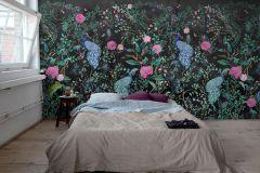 P271702-8 cikkszámú tapéta.állatok,különleges motívumos,virágmintás,barna,fekete,kék,pink-rózsaszín,szürke,türkiz,zöld,lemosható,vlies poszter, fotótapéta