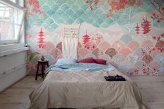 P271801-7 cikkszámú tapéta.Különleges felületű,különleges motívumos,rajzolt,virágmintás,narancs-terrakotta,piros-bordó,türkiz,fehér,lemosható,vlies poszter, fotótapéta