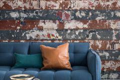 P250501-6 cikkszámú tapéta.Csíkos,fémhatású - indusztriális,különleges motívumos,retro,kék,piros-bordó,szürke,vlies poszter, fotótapéta