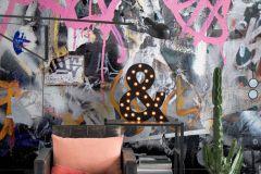 P250601-13 cikkszámú tapéta.Feliratos-számos,gyerek,kőhatású-kőmintás,rajzolt,retro,fehér,fekete,narancs-terrakotta,sárga,szürke,vlies poszter, fotótapéta