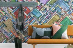 P251501-8 cikkszámú tapéta.Feliratos-számos,geometriai mintás,különleges motívumos,retro,barna,fehér,fekete,kék,narancs-terrakotta,pink-rózsaszín,sárga,zöld,vlies poszter, fotótapéta