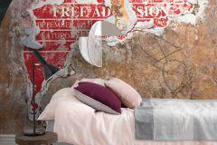P251701-4 cikkszámú tapéta.Feliratos-számos,kőhatású-kőmintás,különleges motívumos,retro,barna,fehér,fekete,szürke,vlies poszter, fotótapéta