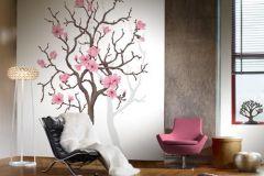 P030401-4 cikkszámú tapéta.Virágmintás,fa hatású-fa mintás,fehér,szürke,pink-rózsaszín,barna,gyengén mosható,vlies poszter, fotótapéta