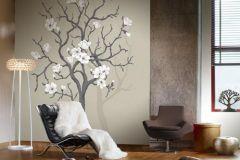 P030402-4 cikkszámú tapéta.Virágmintás,fa hatású-fa mintás,fehér,barna,bézs-drapp,gyengén mosható,vlies poszter, fotótapéta
