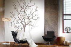 P030403-4 cikkszámú tapéta.Virágmintás,fa hatású-fa mintás,fehér,szürke,barna,gyengén mosható,vlies poszter, fotótapéta