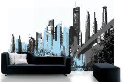 P030701-8 cikkszámú tapéta.Fa hatású-fa mintás,fotórealisztikus,fehér,szürke,kék,gyengén mosható,vlies poszter, fotótapéta