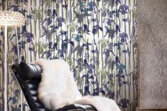 P031001-6 cikkszámú tapéta.Csíkos,rajzolt,retro,természeti mintás,fehér,kék,zöld,gyengén mosható,vlies poszter, fotótapéta