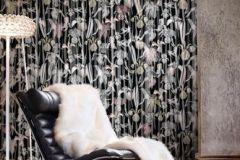 P031002-6 cikkszámú tapéta.Rajzolt,retro,természeti mintás,virágmintás,fekete,piros-bordó,szürke,gyengén mosható,vlies poszter, fotótapéta