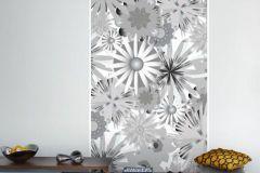 P031201-2 cikkszámú tapéta.Rajzolt,retro,természeti mintás,virágmintás,fehér,fekete,szürke,gyengén mosható,vlies poszter, fotótapéta