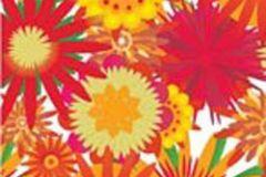 P031203-2 cikkszámú tapéta.Különleges motívumos,rajzolt,retro,virágmintás,fehér,piros-bordó,sárga,zöld,gyengén mosható,vlies poszter, fotótapéta