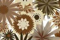 P031204-2 cikkszámú tapéta.Rajzolt,retro,virágmintás,barna,bézs-drapp,fehér,fekete,gyengén mosható,vlies poszter, fotótapéta