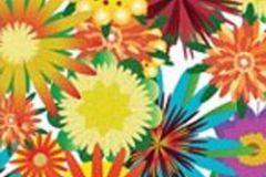 P031205-2 cikkszámú tapéta.Virágmintás,fehér,piros-bordó,sárga,türkiz,zöld,gyengén mosható,vlies poszter, fotótapéta