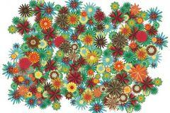 P031207-8 cikkszámú tapéta.Különleges motívumos,rajzolt,retro,természeti mintás,virágmintás,barna,fehér,piros-bordó,sárga,türkiz,zöld,gyengén mosható,vlies poszter, fotótapéta