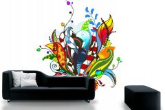 P031301-6 cikkszámú tapéta.Absztrakt,rajzolt,retro,természeti mintás,virágmintás,fehér,fekete,kék,lila,narancs-terrakotta,piros-bordó,sárga,türkiz,zöld,gyengén mosható,vlies poszter, fotótapéta