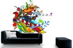 P031302-6 cikkszámú tapéta.Különleges motívumos,rajzolt,retro,természeti mintás,virágmintás,barna,fehér,kék,piros-bordó,sárga,türkiz,zöld,gyengén mosható,vlies poszter, fotótapéta