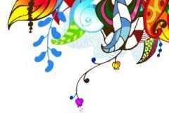 P031304-4 cikkszámú tapéta.Virágmintás,fehér,kék,lila,narancs-terrakotta,piros-bordó,sárga,türkiz,zöld,gyengén mosható,vlies poszter, fotótapéta