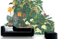 P031401-8 cikkszámú tapéta.Rajzolt,retro,természeti mintás,virágmintás,fehér,narancs-terrakotta,piros-bordó,sárga,vajszín,zöld,gyengén mosható,vlies poszter, fotótapéta