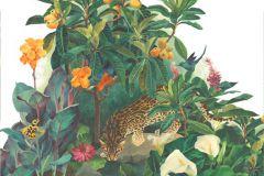 P031402-8 cikkszámú tapéta.Gyerek,rajzolt,retro,természeti mintás,virágmintás,fehér,narancs-terrakotta,piros-bordó,sárga,vajszín,zöld,gyengén mosható,vlies poszter, fotótapéta