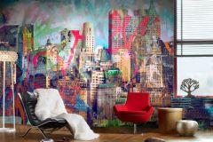 P032002-8 cikkszámú tapéta.Fotórealisztikus,rajzolt,retro,tájkép,fekete,kék,piros-bordó,sárga,zöld,gyengén mosható,vlies poszter, fotótapéta