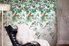 P032301-4 cikkszámú tapéta.Fa hatású-fa mintás,különleges motívumos,rajzolt,retro,fehér,pink-rózsaszín,szürke,zöld,gyengén mosható,vlies poszter, fotótapéta