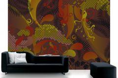 P032501-8 cikkszámú tapéta.Absztrakt,különleges motívumos,rajzolt,retro,barna,bézs-drapp,piros-bordó,zöld,gyengén mosható,vlies poszter, fotótapéta