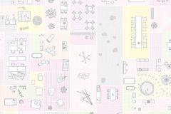E040501-6 cikkszámú tapéta.Absztrakt,fotórealisztikus,geometriai mintás,retro,fehér,pink-rózsaszín,gyengén mosható,vlies poszter, fotótapéta