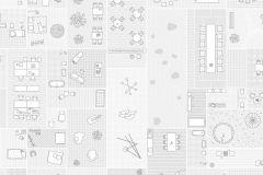 E040502-6 cikkszámú tapéta.Fotórealisztikus,geometriai mintás,különleges motívumos,retro,fehér,szürke,gyengén mosható,vlies poszter, fotótapéta