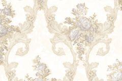 4901 cikkszámú tapéta.Barokk-klasszikus,természeti mintás,textil hatású,virágmintás,arany,bézs-drapp,fehér,szürke,súrolható,vlies tapéta