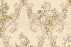 4902 cikkszámú tapéta.Barokk-klasszikus,természeti mintás,textil hatású,virágmintás,arany,barna,bézs-drapp,fekete,szürke,súrolható,vlies tapéta