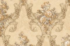 4903 cikkszámú tapéta.Barokk-klasszikus,természeti mintás,textil hatású,virágmintás,arany,barna,bézs-drapp,fehér,szürke,súrolható,vlies tapéta