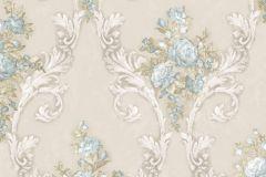 4905 cikkszámú tapéta.Barokk-klasszikus,természeti mintás,textil hatású,virágmintás,bézs-drapp,fehér,kék,szürke,vajszín,súrolható,vlies tapéta