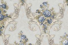 4906 cikkszámú tapéta.Barokk-klasszikus,természeti mintás,textil hatású,virágmintás,arany,barna,fehér,kék,szürke,súrolható,vlies tapéta